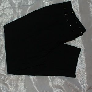 Pants - Black studded ankle pants